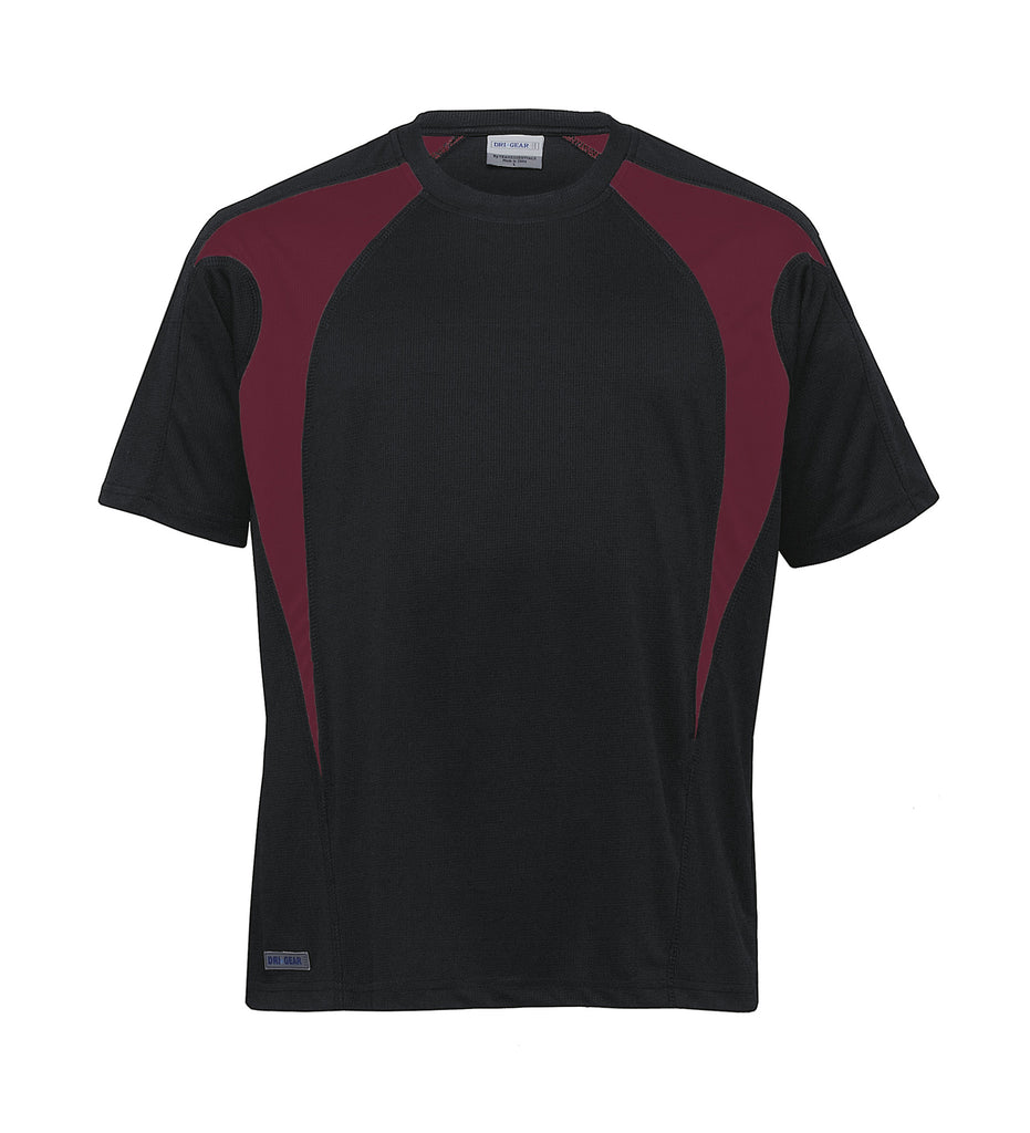 Gear For Life-Gear For Life Unisex Dri Gear Spliced Zenith Tee(1st 7 Colours)-Black/Maroon / XXS-Corporate Apparel Online - 6