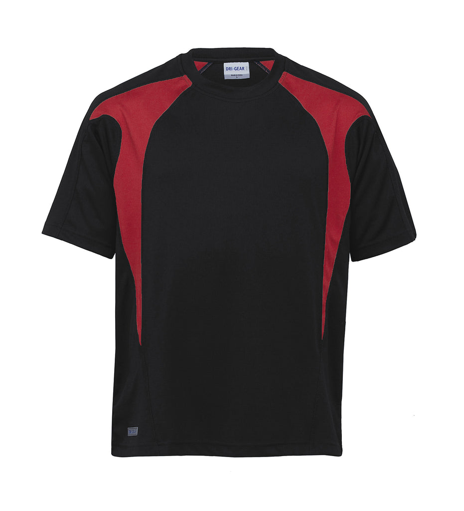 Gear For Life-Gear For Life Unisex Dri Gear Spliced Zenith Tee(1st 7 Colours)-Black/Red / XXS-Corporate Apparel Online - 7