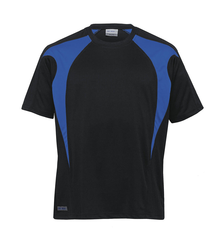 Gear For Life-Gear For Life Unisex Dri Gear Spliced Zenith Tee(1st 7 Colours)-Black/Royal / XXS-Corporate Apparel Online - 3
