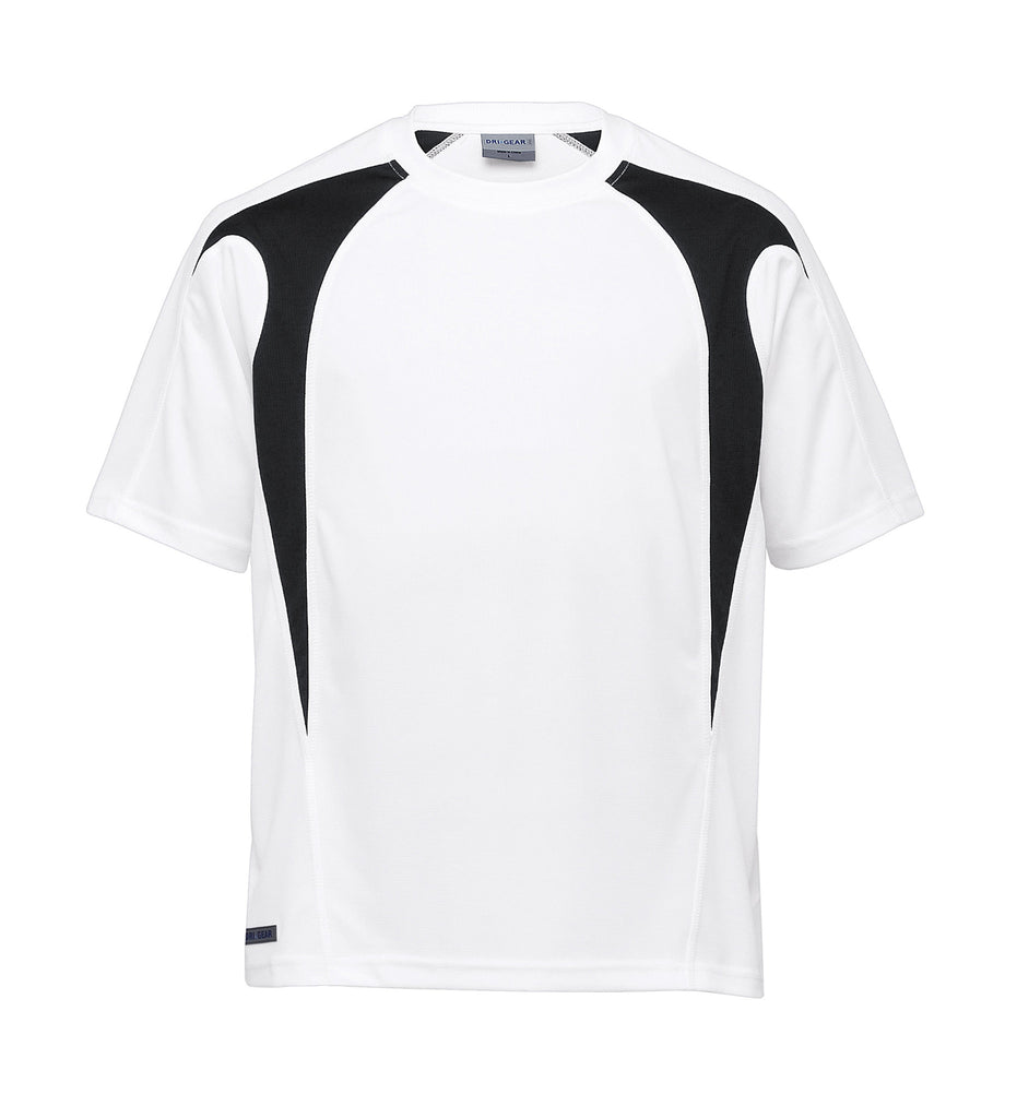 Gear For Life-Gear For Life Dri Gear Spliced Zenith Tee (2nd 8 Colours)-White/Black / XXS-Corporate Apparel Online - 8