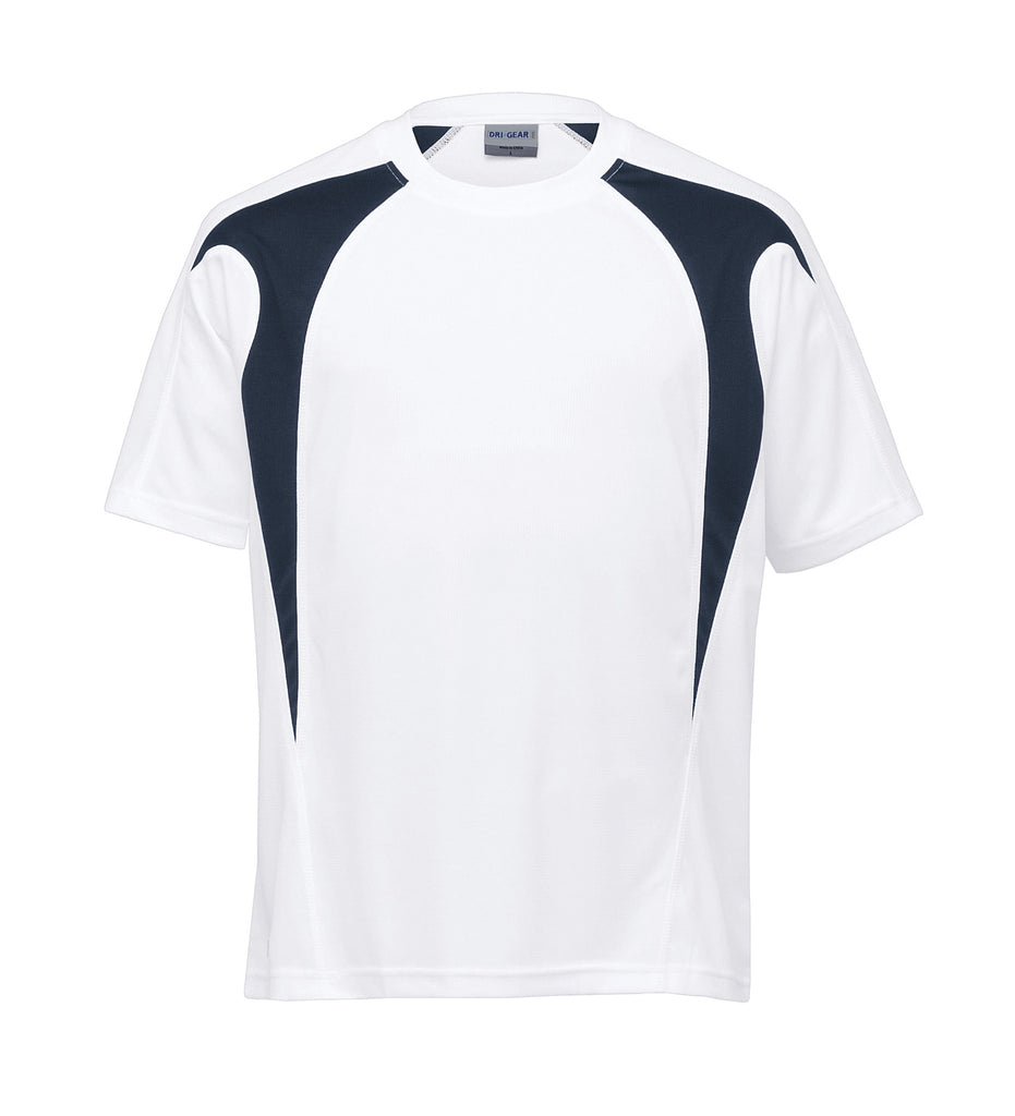 Gear For Life-Gear For Life Dri Gear Spliced Zenith Tee (2nd 8 Colours)-White/Navy / XXS-Corporate Apparel Online - 9