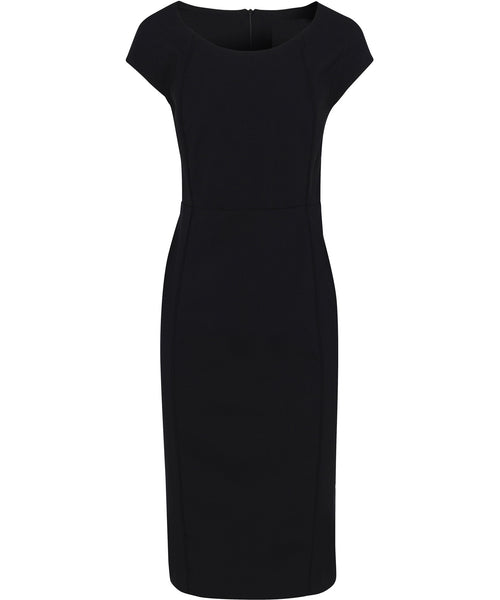 Bracks Womens Black Dress With Center Back Zip In High Twist Polyester Visoe Cloth (DRESSW124)