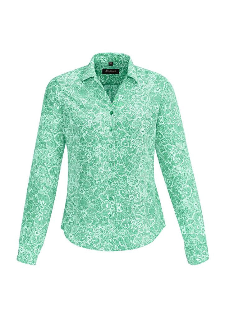 Biz Corporates-Biz Corporates Solanda Ladies Print Long Sleeve Shirt-Dynasty Green / 4-Corporate Apparel Online - 6