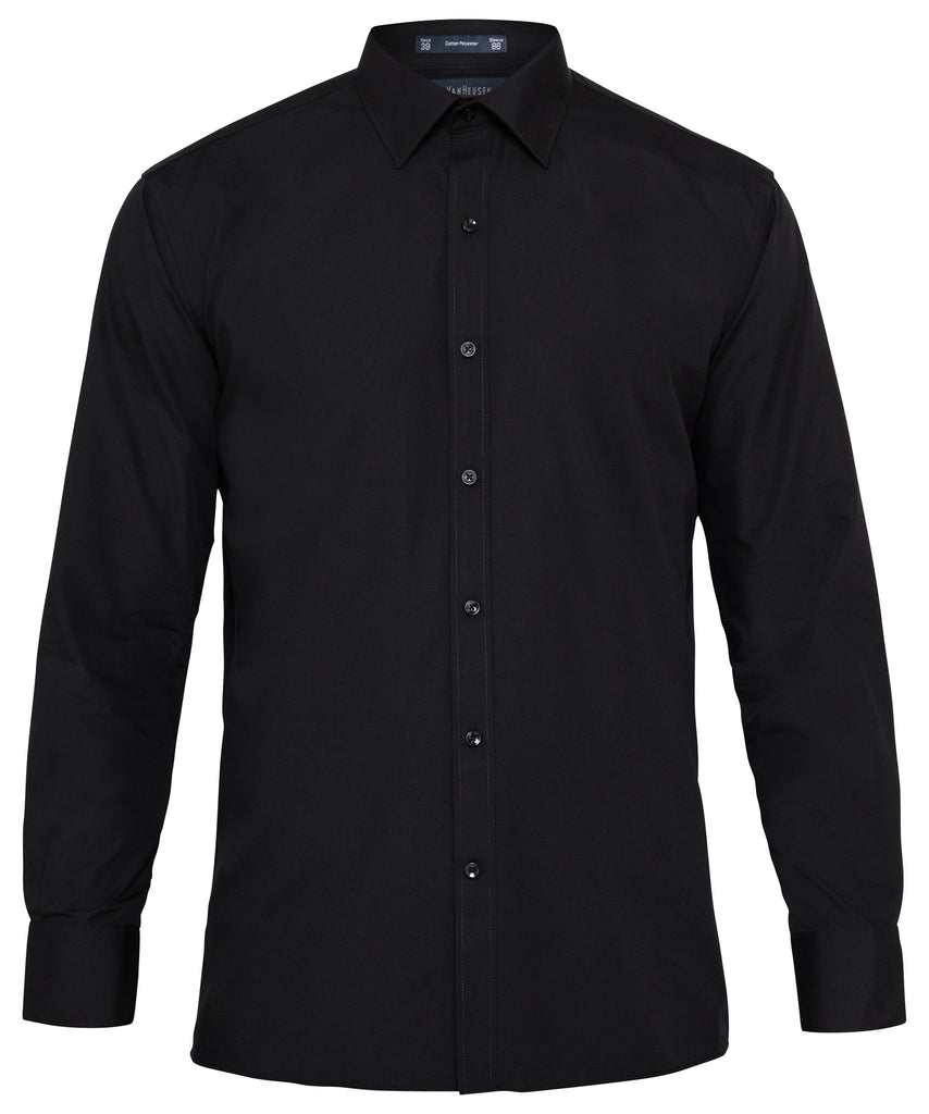 Van Heusen-Van Heusen Cotton Polyester Poplin European Fit Shirt-Black / 37-82-Corporate Apparel Online - 1