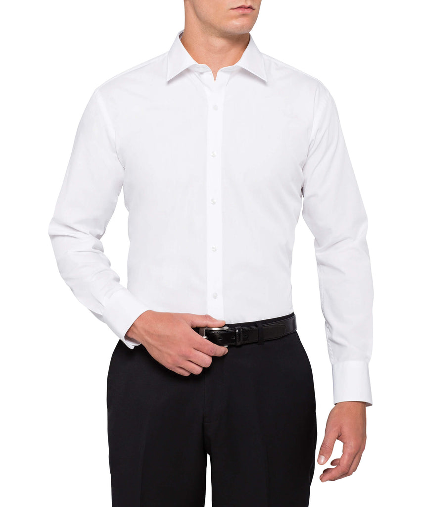 Van Heusen Men's European Tailored Fit Shirt Cotton Polyester Solid Dyed Poplin Easy Care (E101)