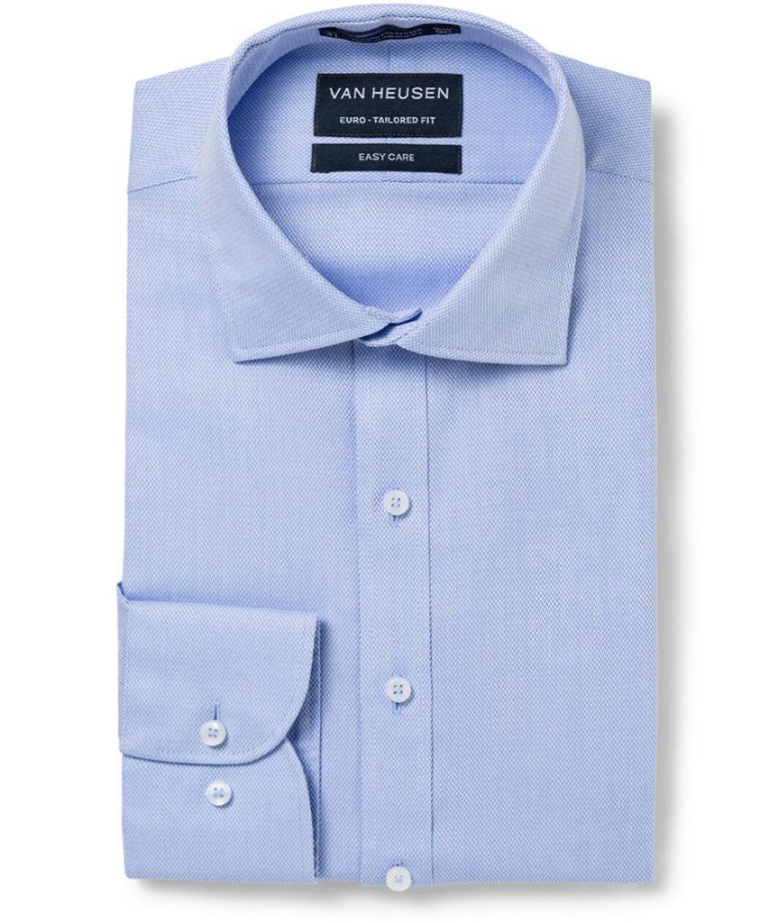 Van Heusen Men'S European Fit Shirt Cotton Polyester Dobby Herringbone Easy Care (E103)