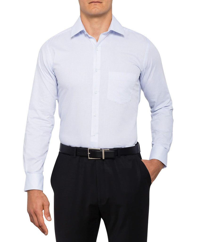 Van Heusen Men's European Tailored Fit Shirt Cotton Polyester Yarn Dyed Check Easy Care (E155)