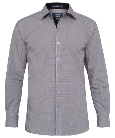 Van Heusen-Ven Heusen Cotton Polyester Yarn Dyed Check European Fit Shirt-Charcoal / 39-86-Corporate Apparel Online - 3