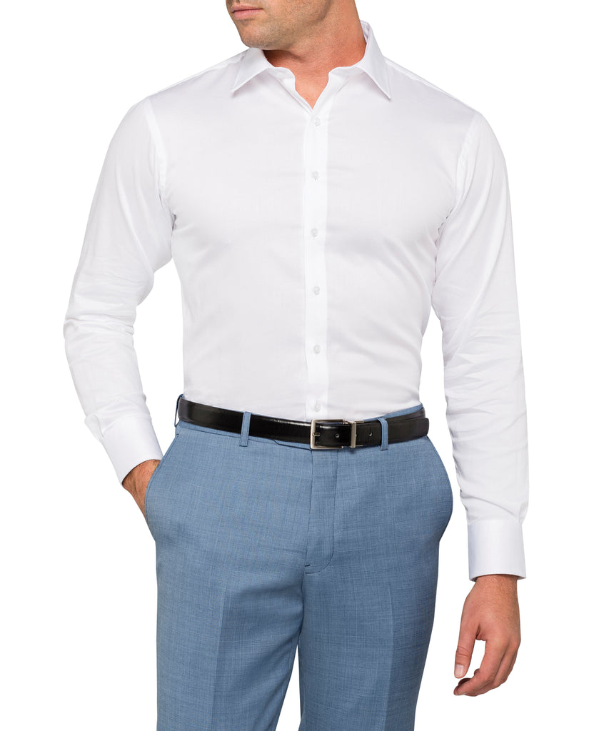 Van Heusen Men's European Tailored Fit Shirt 100% Cotton Dobby Easy Care (E505)