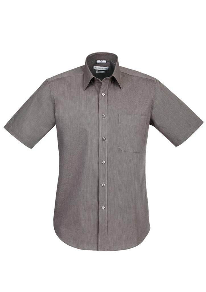 Biz Collection-Biz Collection Mens Chevron Short Sleeve Shirt-Graphite / S-Corporate Apparel Online - 5