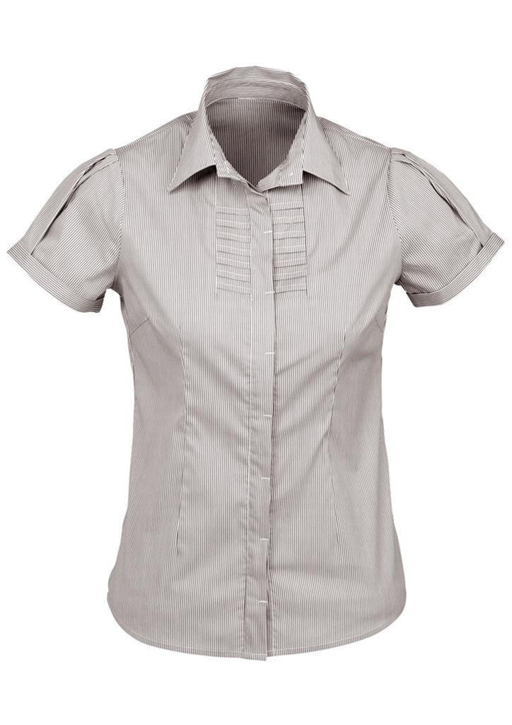 Biz Collection-Biz Collection Ladies Berlin Short Sleeve Shirt-Graphite / 6-Corporate Apparel Online - 6