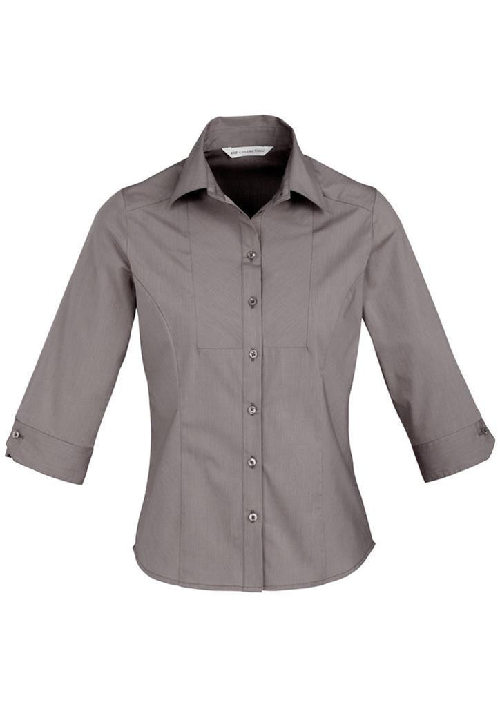 Biz Collection-Biz Collection Ladies Chevron 3/4 Sleeve Shirt-Graphite / 6-Corporate Apparel Online - 5