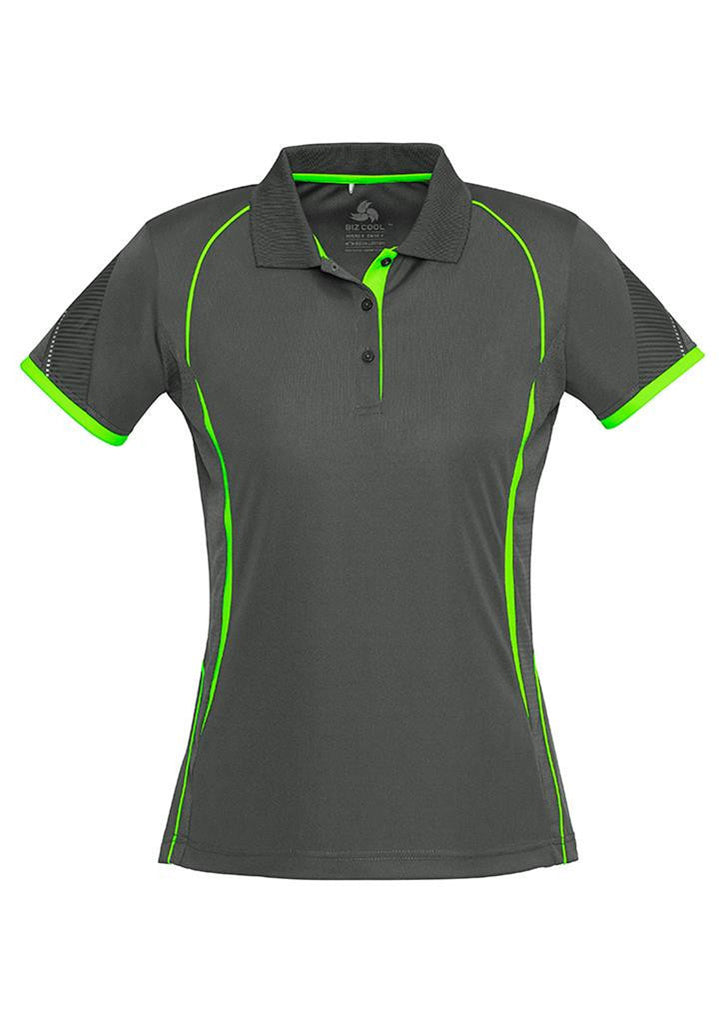 Biz Collection-Biz Collection Ladies Razor Polo-Grey/Fluoro Lime / 8-Corporate Apparel Online - 5