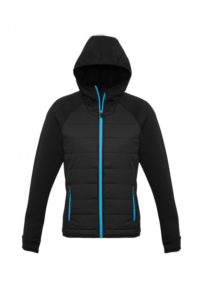 Biz Collection-Biz Collection Ladies Stealth Tech Hoodie-BLACK/CYAN / XS-Corporate Apparel Online - 3