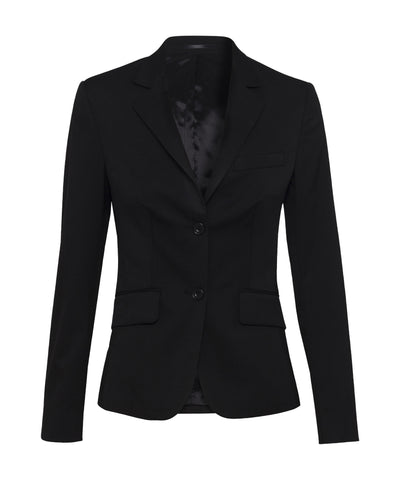 Bracks-Bracks Womens Sinlge Breasted Two Button Plain Twill Bracks Jacket-10 / BLACK-Corporate Apparel Online