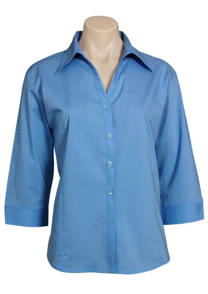 Biz Collection-Biz Collection Ladies Metro Shirt 3/4 Sleeve-Mid Blue / 6-Corporate Apparel Online - 6