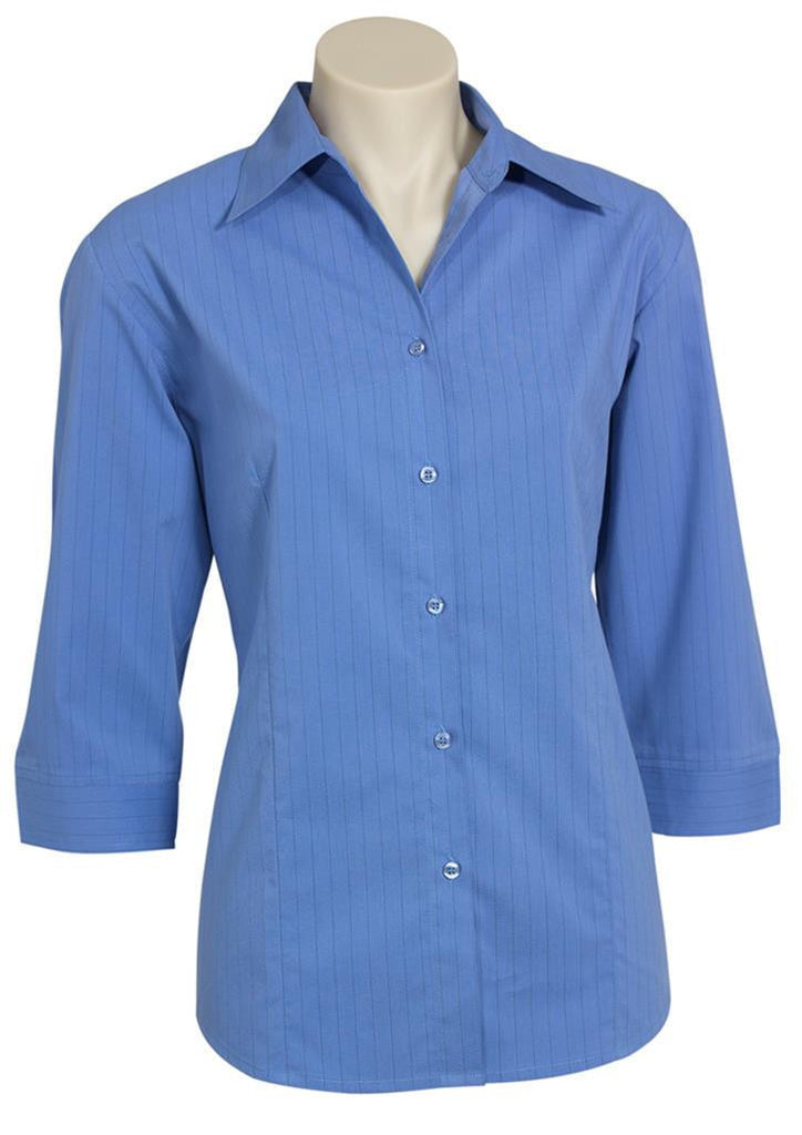 Biz Collection-Biz Collection Ladies Manhattan 3/4 Sleeve Shirt-Mid Blue / Navy / 6-Corporate Apparel Online - 6