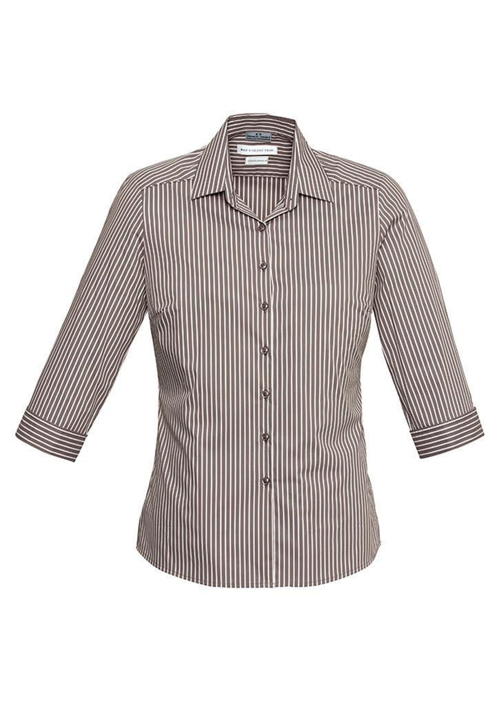 Biz Collection-Biz Collection Ladies Zurich 3/4 Shirt-Mocha/White / 6-Corporate Apparel Online - 4