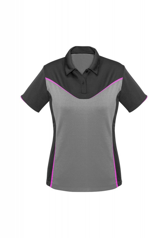 Biz Collection-Biz Collection Ladies Victory Polo-8 / GREY/SILVER/FLUORO PINK-Corporate Apparel Online - 7