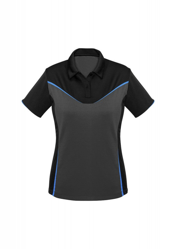 Biz Collection-Biz Collection Ladies Victory Polo-8 / BLACK/ASH/CYAN-Corporate Apparel Online - 2