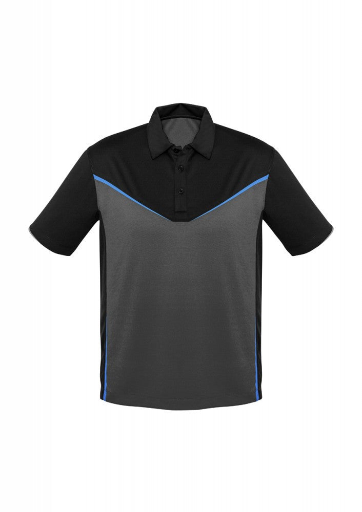 Biz Collection-Biz Collection Mens Victory  Polo-S / BLACK/ASH/CYAN-Corporate Apparel Online - 2