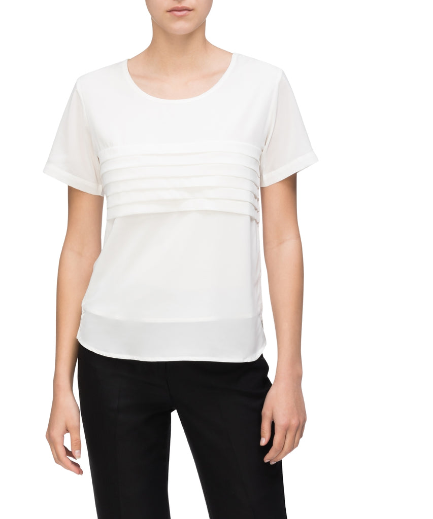 Van Heusen Women's Relaxed Fit Jersey Top Polyester Elastane Pleated Short Sleeve (VHKS400)