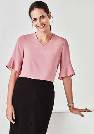 Biz Corporate Womens Aria Fluted Sleeve Blouse (RB966LS)