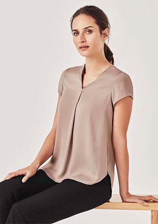 Biz Corporate Womens Kayla V-neck Pleat Blouse (RB967LS)