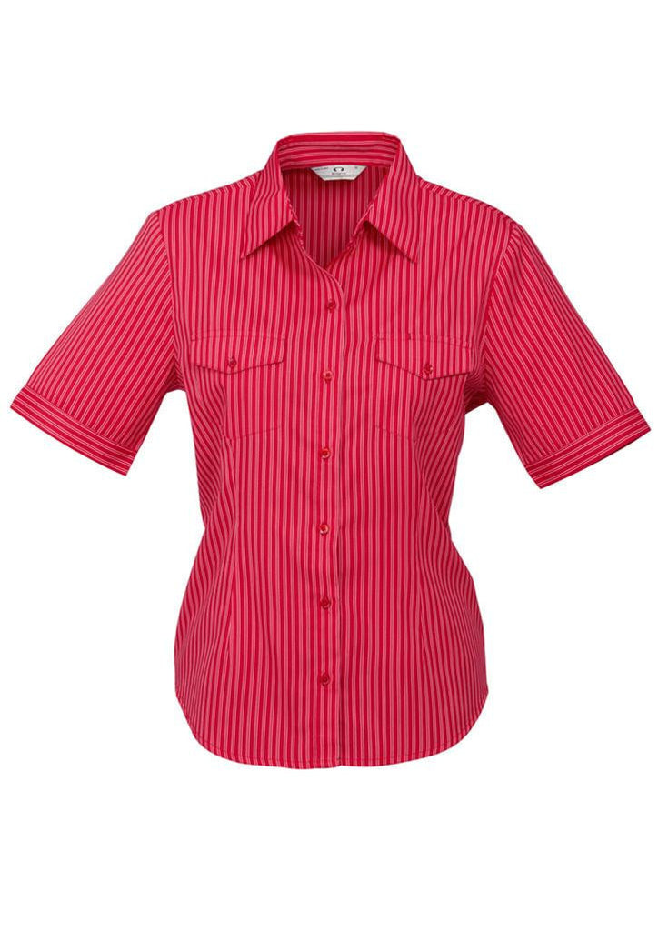 Biz Collection-Biz Collection Ladies Cuban Short Sleeve Shirt-Red / Silver / 6-Corporate Apparel Online - 4