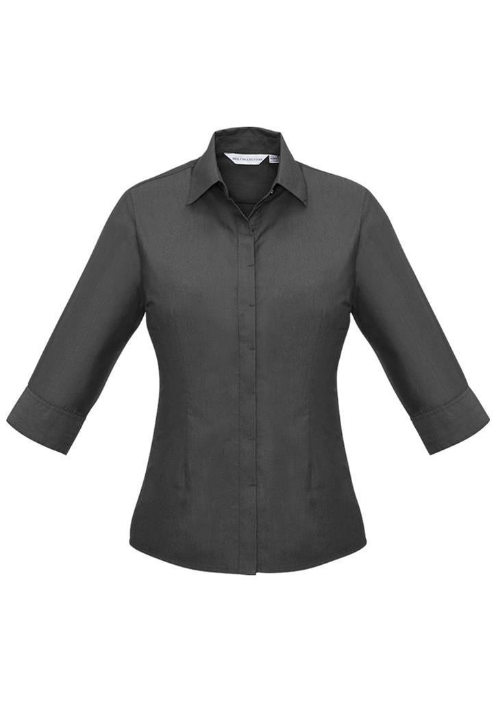 Biz Collection-Biz Collection Ladies Hemingway 3/4 Sleeve Shirt-Slate / 6-Corporate Apparel Online - 4