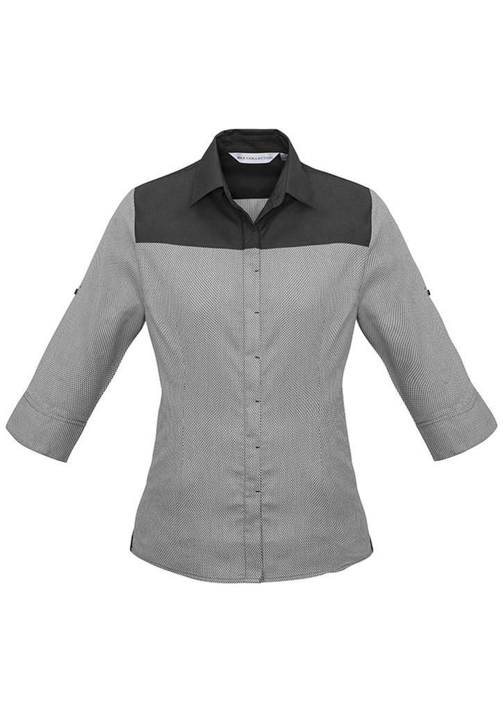 Biz Collection-Biz Collection Ladies Havana 3/4 Sleeve Shirt-Slate / 6-Corporate Apparel Online - 3
