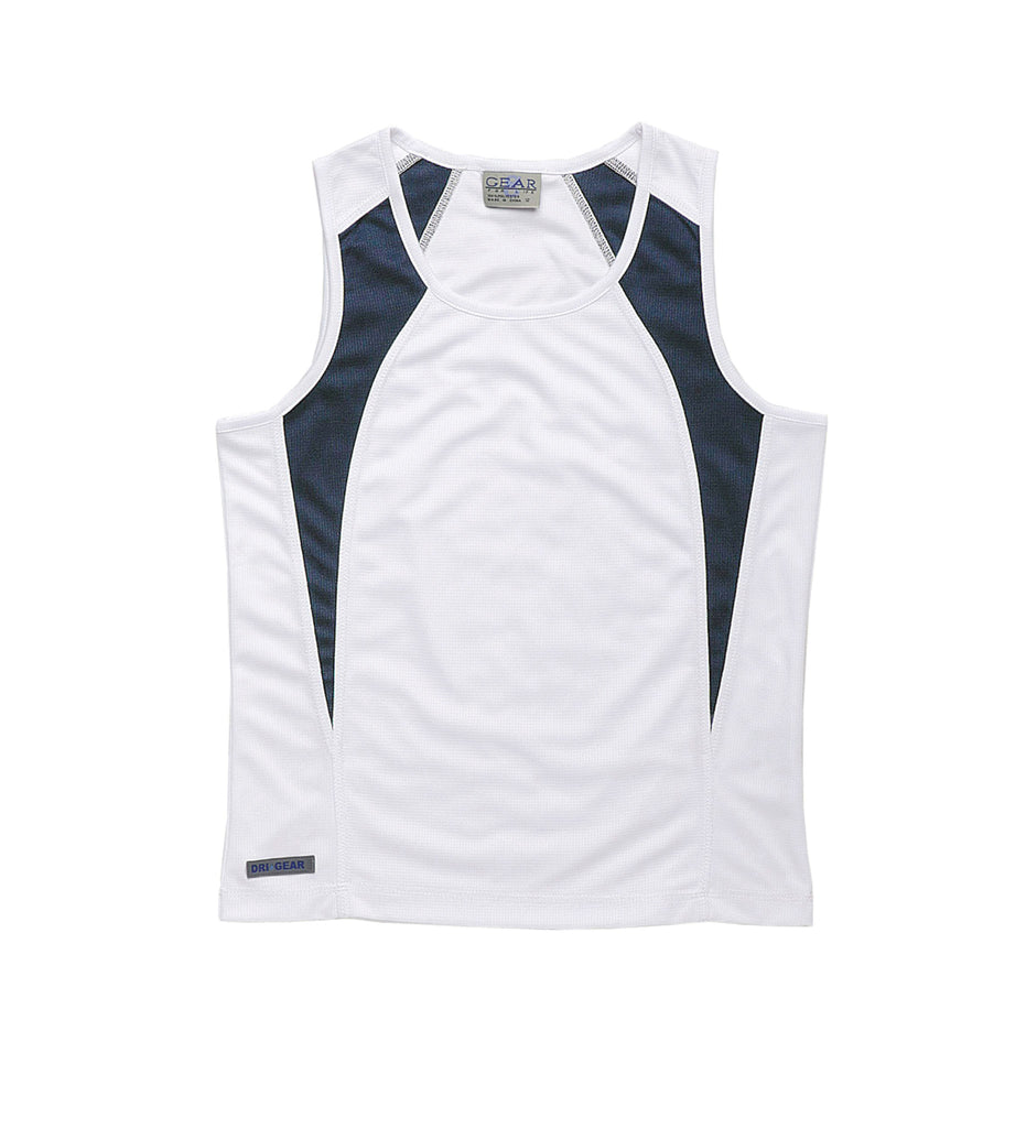 Gear For Life-Gear For Life Dri Gear Womens Spliced Zenith Singlet-White/Navy / 14-Corporate Apparel Online - 3