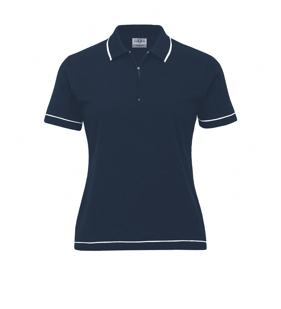 Gear For Life-Gear For Life Womens Retro Waffle Polo(2nd 10 Colours)-Navy/White / 8-Corporate Apparel Online - 3