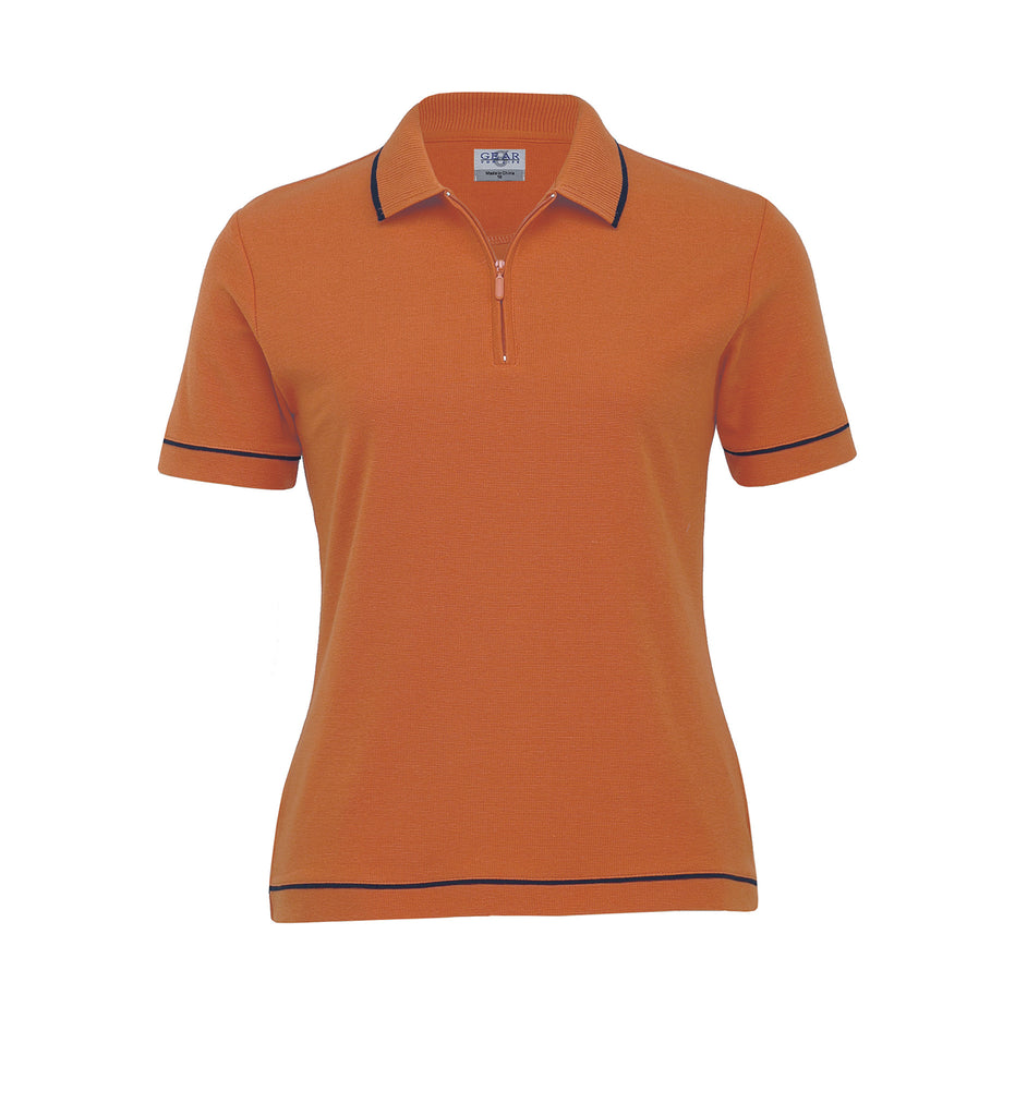 Gear For Life-Gear For Life Womens Retro Waffle Polo(2nd 10 Colours)-Pumpkin/Navy / 8-Corporate Apparel Online - 6
