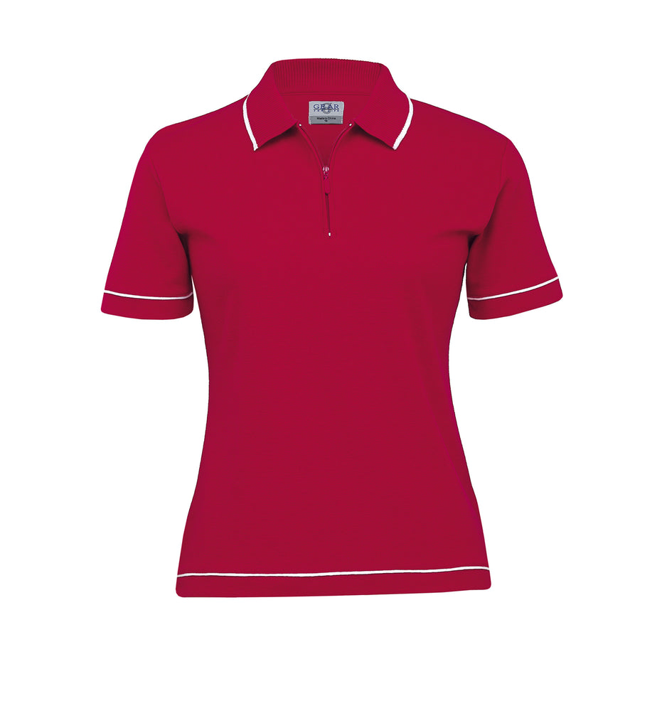 Gear For Life-Gear For Life Womens Retro Waffle Polo(2nd 10 Colours)-Red/White / 8-Corporate Apparel Online - 7
