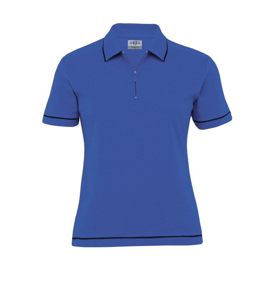 Gear For Life-Gear For Life Womens Retro Waffle Polo(2nd 10 Colours)-Royal/Black / 8-Corporate Apparel Online - 8