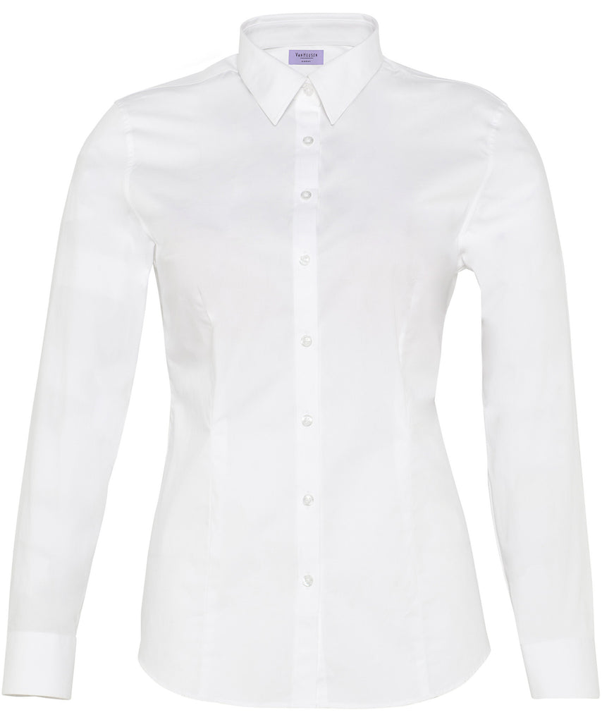 Van Heusen-Van Heusen Ladies Cotton Stretch Poplin Classic Fit Shirt-White / 6-AB-Corporate Apparel Online - 3