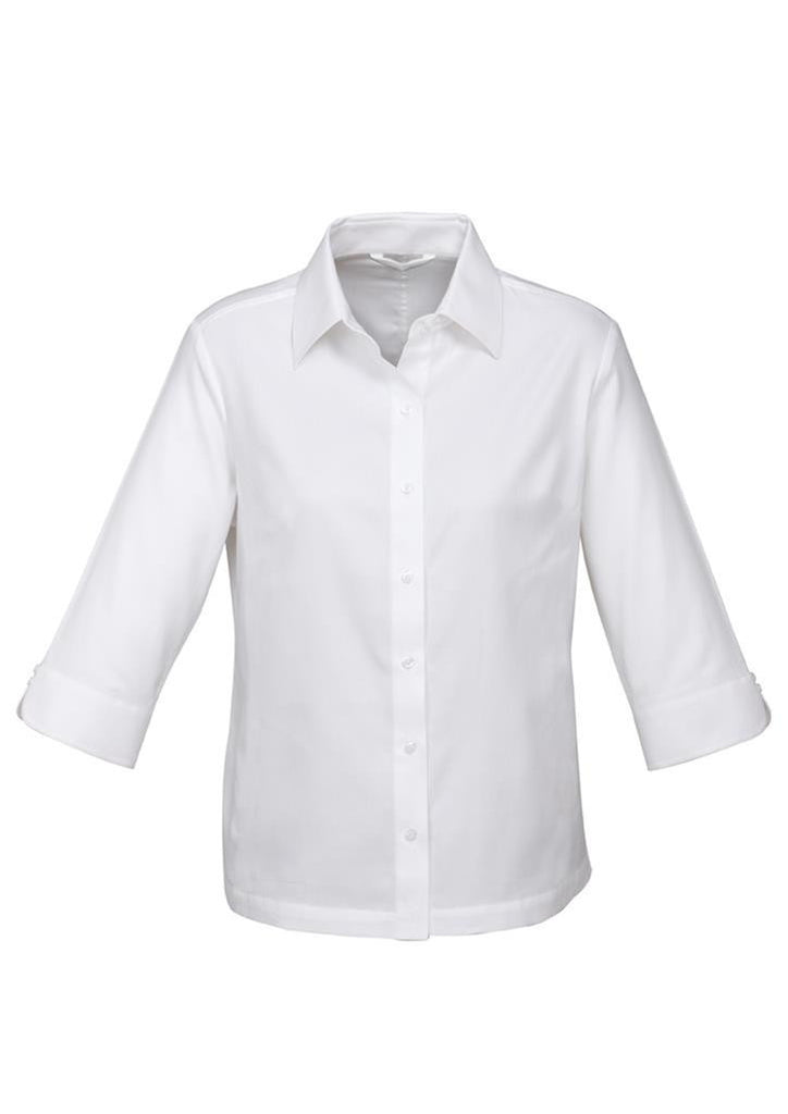 Biz Collection-Biz Collection Ladies Luxe 3/4 Sleeve Shirt-White / 6-Corporate Apparel Online - 3