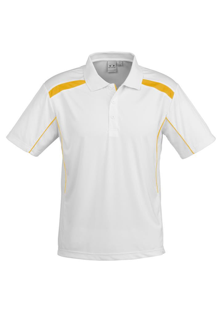 Biz Collection-Biz Collection Mens United Short Sleeve Polo 2nd  ( 10 Colour )-White / Gold / Small-Corporate Apparel Online - 8