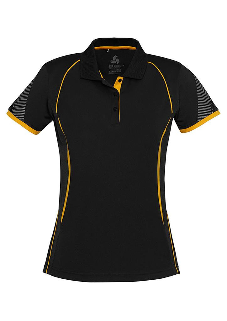 Biz Collection-Biz Collection Ladies Razor Polo-Black/Gold / 8-Corporate Apparel Online - 7