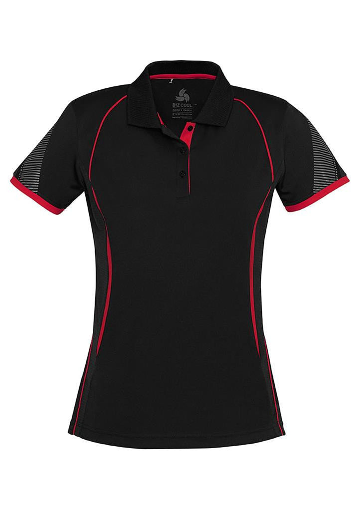 Biz Collection-Biz Collection Ladies Razor Polo-Black/Red / 8-Corporate Apparel Online - 2