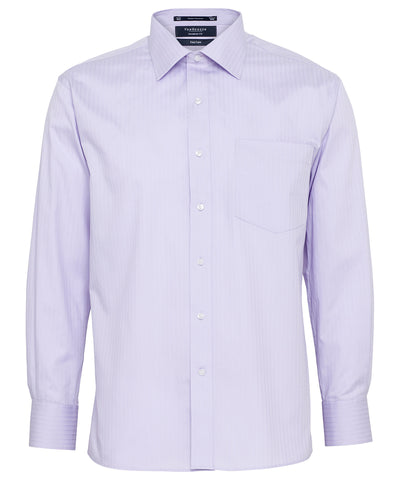 Van Heusen-Van Heusen Gents Cotton Polyester Herringbone Stripe European Fit Shirt-Mauve / 38-86-Corporate Apparel Online - 1