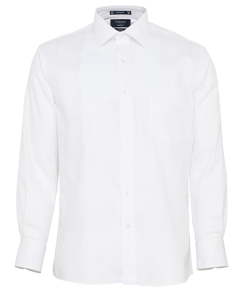 Van Heusen-Van Heusen Gents Cotton Rich Self Stripe European Fit Shirt-White / 39-86-Corporate Apparel Online - 3