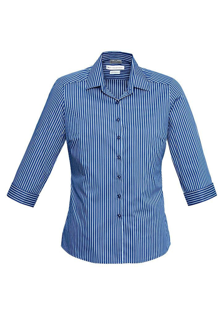 Biz Collection-Biz Collection Ladies Zurich 3/4 Shirt-French Blue/White / 6-Corporate Apparel Online - 2