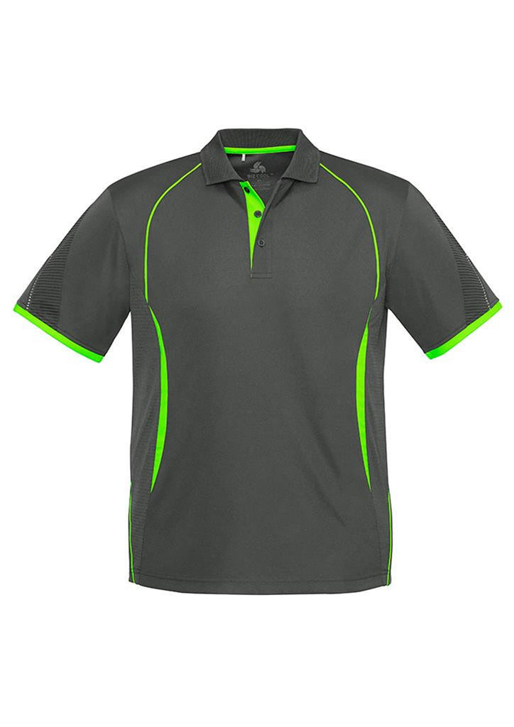 Biz Collection-Biz Collection  Mens Razor Polo-Grey/Fluoro Lime / S-Corporate Apparel Online - 4