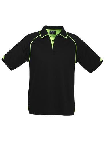 Biz Collection-Biz Collection Mens Fusion Polo-Black / Fluro Lime / Small-Corporate Apparel Online - 1
