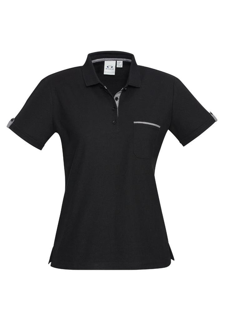 Biz Collection-Biz Collection Edge Ladies Polo-Black/Edge/Check / 6-Corporate Apparel Online - 1