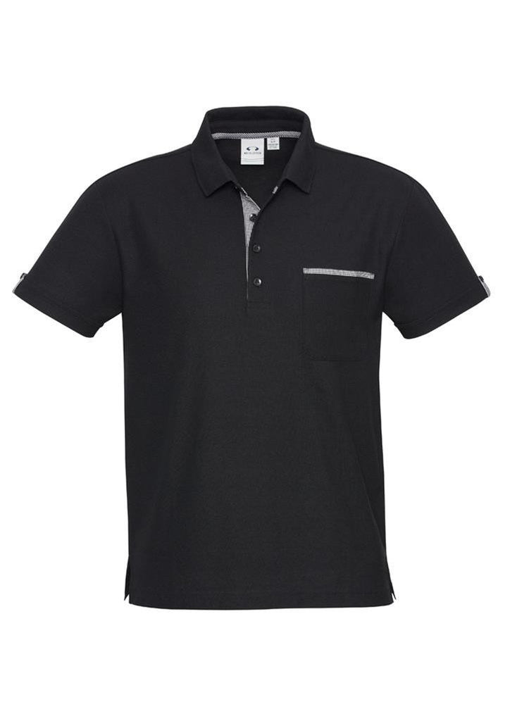 Biz Collection-Biz Collection Edge Mens Polo-Black/Edge Check / S-Corporate Apparel Online - 1
