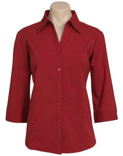 Biz Collection-Biz Collection Ladies Metro Shirt 3/4 Sleeve-RED / 6-Corporate Apparel Online - 10