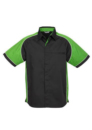 Biz Collection-Biz Collection Mens Nitro Shirt-Black / Green / White / S-Corporate Apparel Online - 2